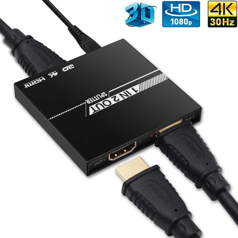 Upgrade HDMI Repeater HDMI Splitter 1 In 2 Out Aluminum Ver1.4 HDCP 4K HDMI 1x2 Switcher 3D 1080P Extender