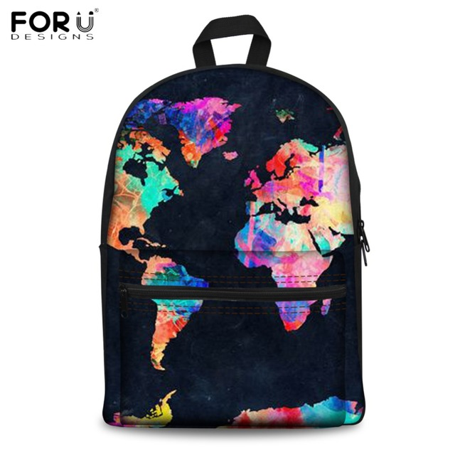 Forudesigns Geography Lover School Backpacks Vintage World Map
