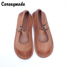 Careaymade-2018 new spring and summer pure handmade genuine leather female shoes,retro casual soft bottom flat shoes,4 colors