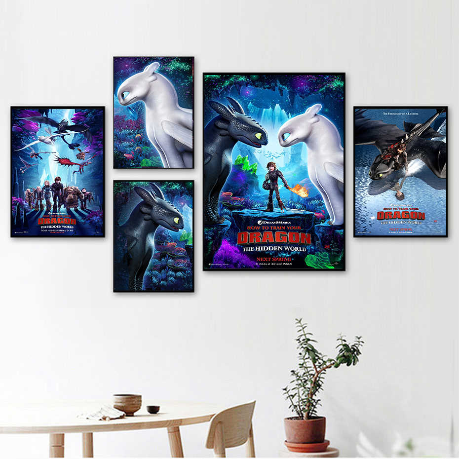 2019 How to Train Your Dragon 3 Cartoon Painting Nursery Kids Room quality HD Art Decor room posters painting No Frame