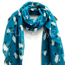 hot deal buy women's scarf sheep print small print animal print teal scarf summer scarf
