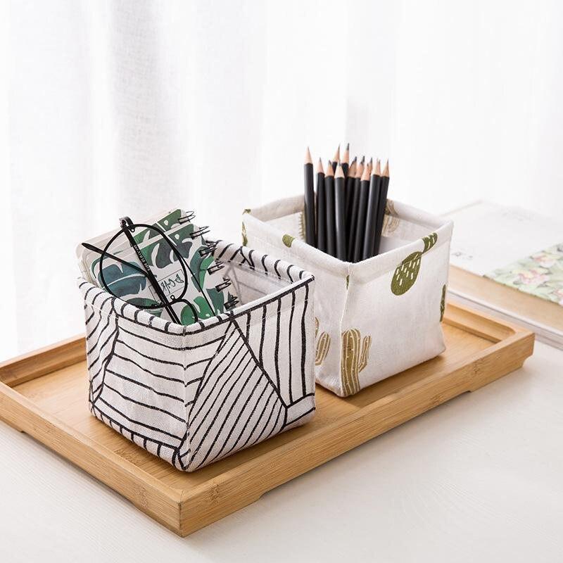 Coloffice 1 шт. простой милый кактус сосна в полоску льняные канцелярские принадлежности держатель многофункциональный настольный хранения офисные принадлежности