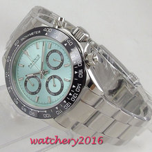 цена 39mm parnis Blue Dial Sapphire Glass ceramic Bezel solid stainless steel case Chronograph Quartz movement men's Watch NEW Arrive онлайн в 2017 году
