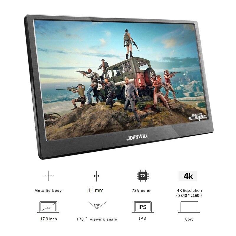 17,3 Zoll IPS Typ-C 4K Tragbare Bildschirm für Schalter PS4 Pro Xbox 60Hz HDMI HDR Monitor für PC Laptop Gaming Monitor