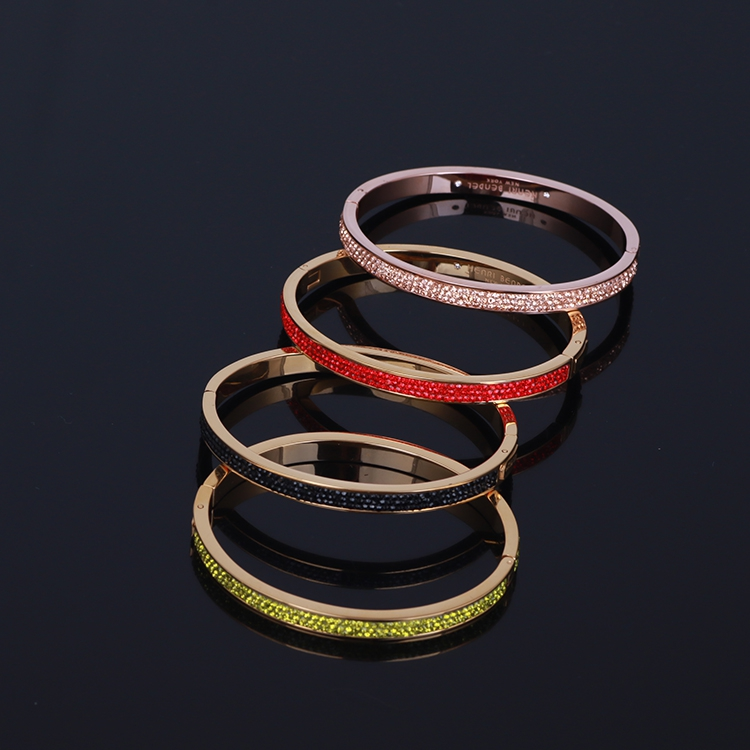 Europe and America inlaid sparkling color steel simple fashion wild multicolor bangle