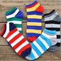 Горячая распродажа! Мужские хлопковые носки Весна Лето и Осень красочные полосатые хлопковые носки мужские и мужские черные крутые короткие носки - фото