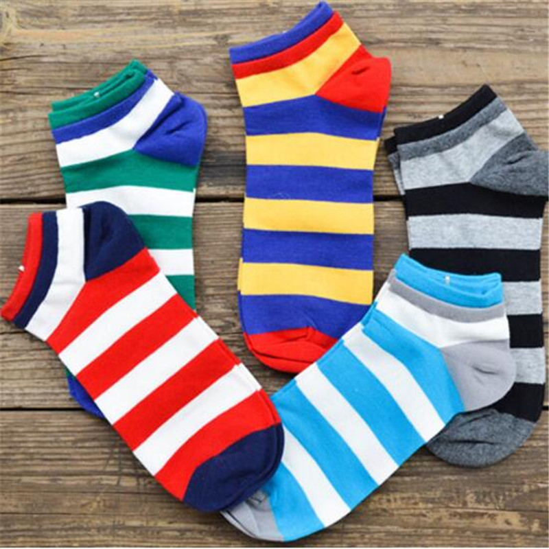 Hot sale!   socks   men cotton spring summer and autumn colorful striped cotton   sock   men's and male black cool short   socks