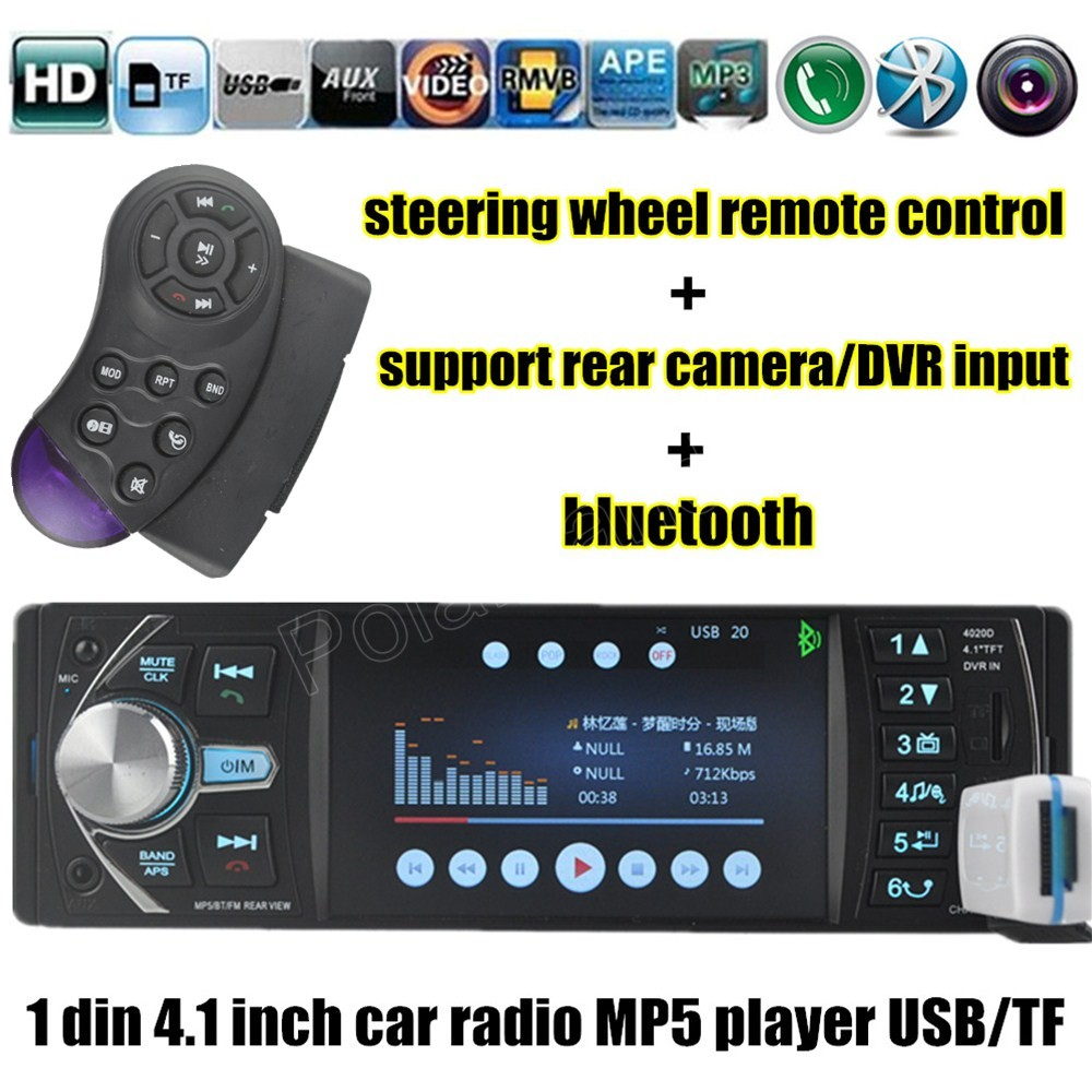 new arrival 4.1 Bluetooth 12V Car Radio TF/USB/AUX FM Stereo MP4 steering wheel Remote Control Hands Free DVR/AUX input 12v 4 1 inch hd bluetooth car fm radio stereo mp3 mp5 lcd player steering wheel remote support usb tf card reader hands free