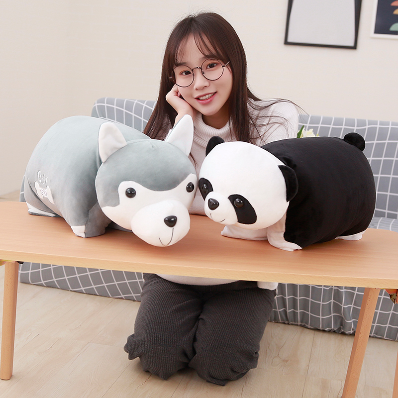 45cm Stuffed Cute Husky Dog and Panda Plush Pillow and Blanket Soft Kawaii Animal Plush Toy Creative Sofa Pillow Kids Doll Gift big new plush lying husky dog toy high quality husky dog doll about 45cm