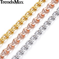 Trendsmax Customized 6mm Mens Boys Snail Necklace Chain Rose Gold filled Necklace Lobster Clasp Wholesale Jewelry Gift GN176