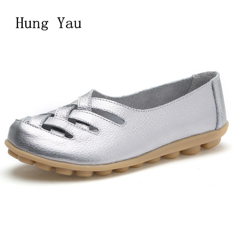 Women Shoes Flats Genuine Leather 2018 Summer Sandals Fashion Hollow Casual Shoes Woman Flat Work Slip On Walking Loafers