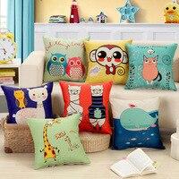 18 Square 45x45cm 55cm Cartoon Print Cushion Linen Cotton Home Decors Sofa Seat Chair Back Waist
