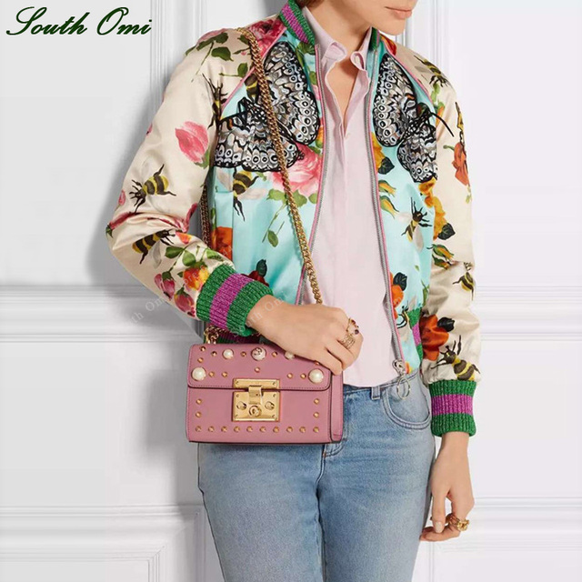 Print embroidery butterfly Bomber Jacket Women Vintage bee flower ...