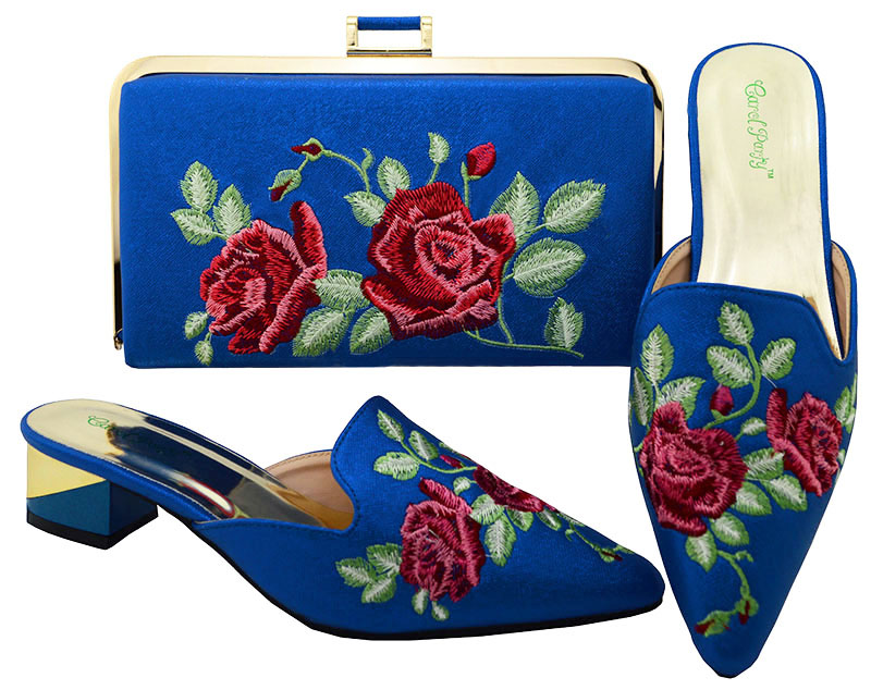Latest Beautiful Embroidered Blue High Quality Italian Shoe and Bag to Match Women Shoes African Party Shoes and Bag Set latest african women shoes and bags set women shoe and bag to match for parties italian design shoes and bag for party bch 37