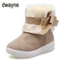 b5373c413 Женские зимние ботинки до середины игры танкетке теплая женская обувь с  искусственным мехом Зимняя обувь женские