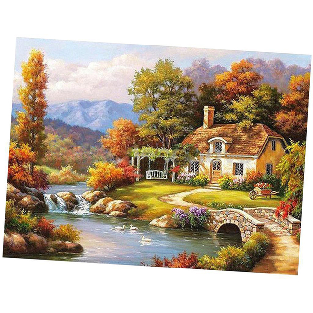 Landscape Canvas DIY Digital Oil Painting Kit Paint by Numbers No Frame Decor 16x20 inch Mountain hut