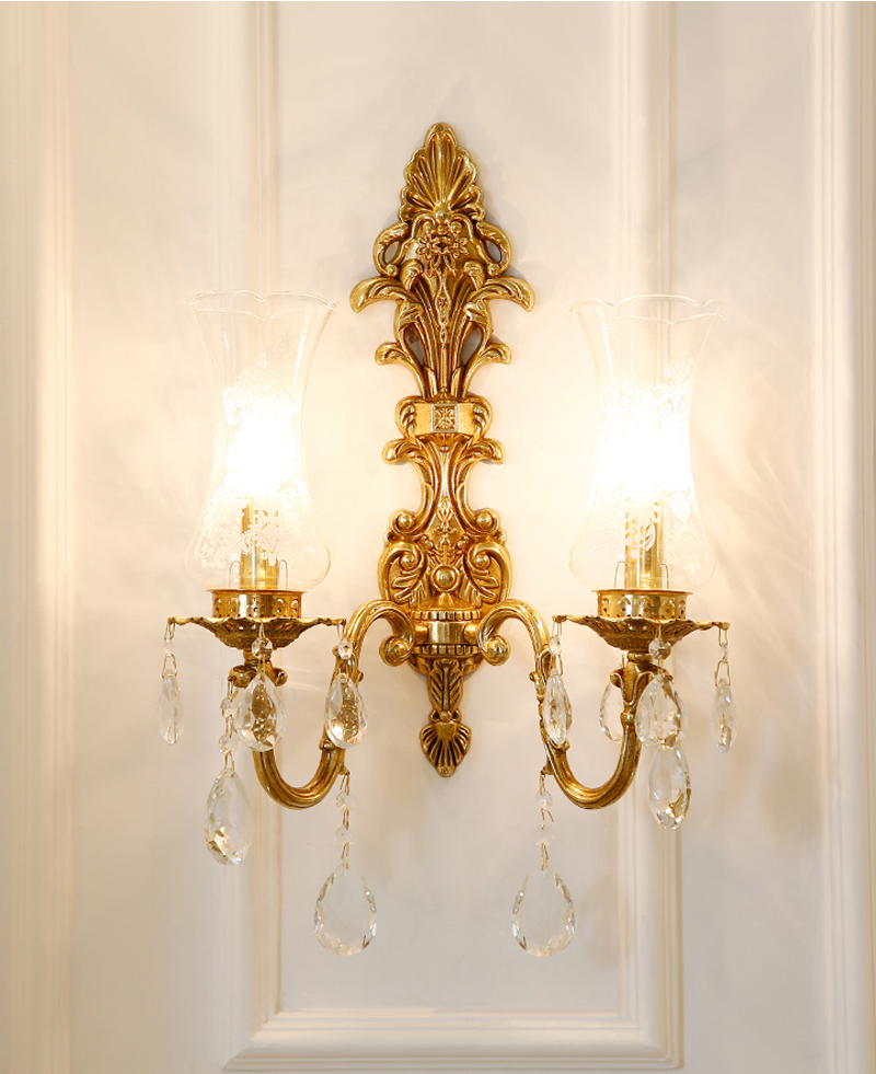 Phube Lighting French Style Copper Wall Lamp Villa Sconce Crystal Bedside Wall Light Lig ...