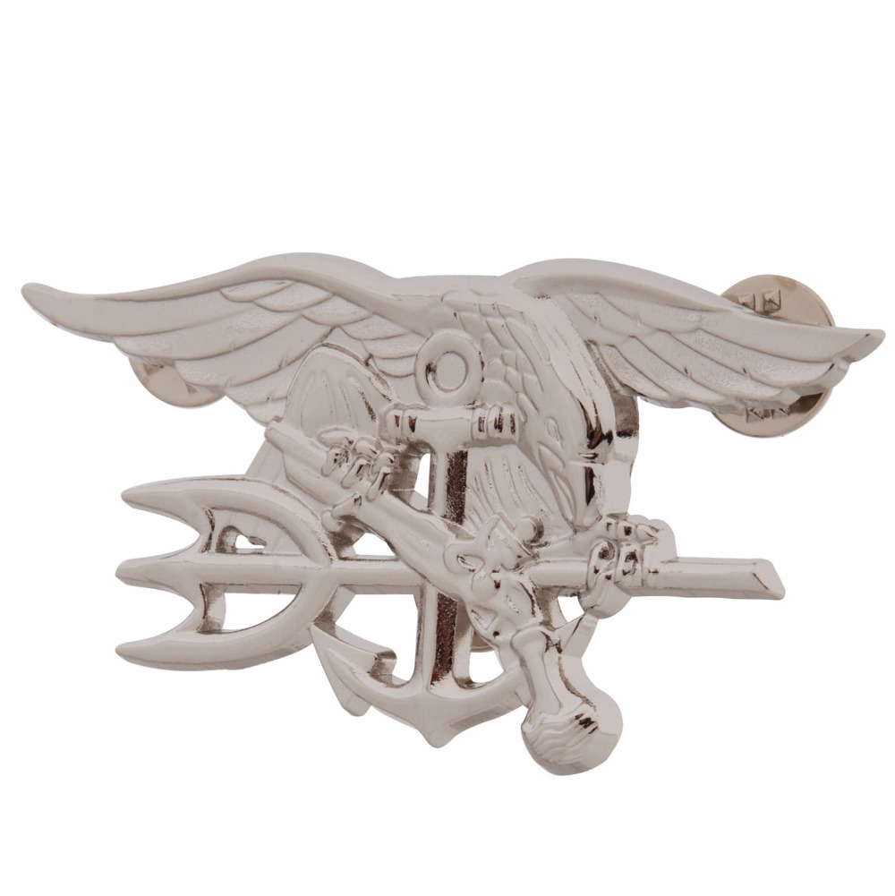 US NAVY SEAL EAGLE ANCHOR TRIDENT METAL BADGE INSIGNIA SILVER