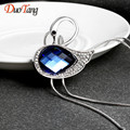 DuoTang Fine Trendy Silver Plated Elegant Crystal Swan Pendant Necklace New Rhinestone Tassel Long Necklace Woman Jewelry Gift
