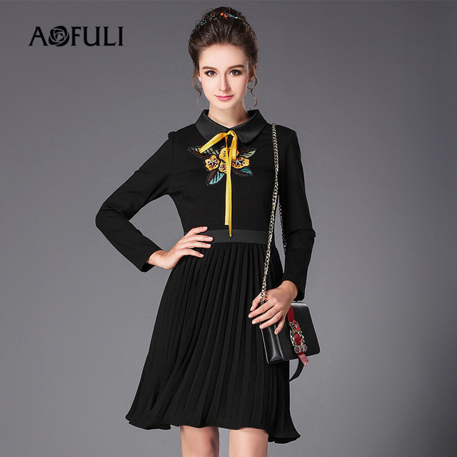AOFULI Brand L- 3XL 4XL 5XL Plus size Autumn Dress 2017 New Women Long sleeve  Bow Floral Embroidery A-line Pleated Black Dresses be1f921e6f71