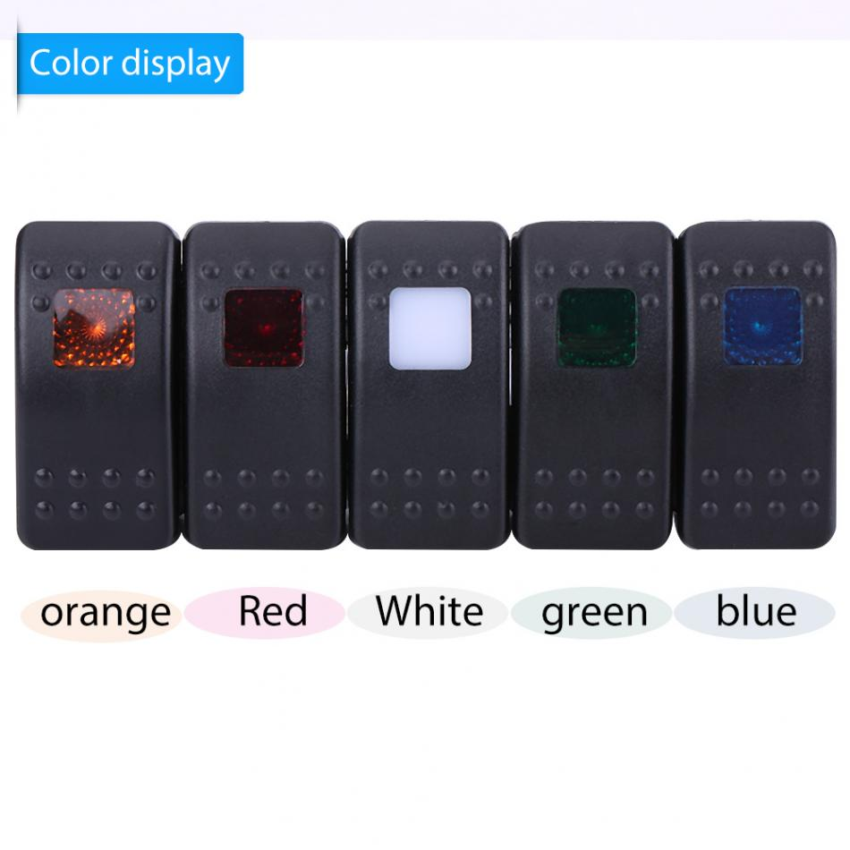 12V-24V 3 Pin On Off Rocker Toggle Switch for Car RV Boat Marine Rocker Switch Orange/Red/White/Green/Blue 2018 hot