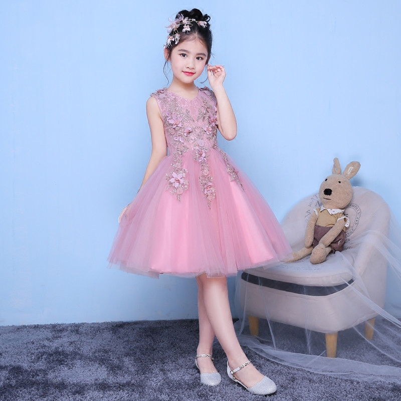 3-10Y Flower Girl Dress Knee-Length Princess Dresses V-neck Ball Gown Appliques Summer Wedding Dress Kid Evening Party Gown E217 new girls dress summer lace vest sleeveless princess peng baby girl children england style knee length crew neck ball gown
