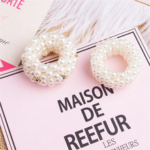 Hair accessories simple hairpin with artificial rhinestones pearl head rope belt girl hair ring elastic lead jewelry