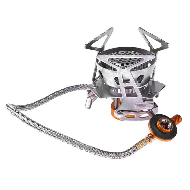 New Stainless Steel and Copper Efficient Windproof Gas Stove Camping Gas Stoves In Box Portable Foldable Split Furnace Butane