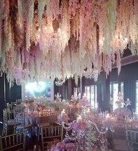 100 sztuk/partia 24 kolory sztuczny kwiat jedwabiu Wisteria kwiat winorośli domu ogród ściany wiszące Rattan DIY wesele dekoracji