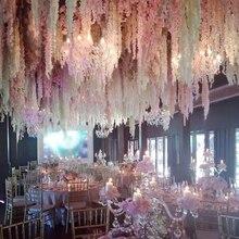 100pcs/lot 24 Colors Artificial Silk Flower Wisteria Flower Vine Home Garden Wal