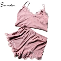 Smmoloa Double Layers Sleeveless Lace Pajama Summer Women Sleep Lounge Sexy Pajama Set