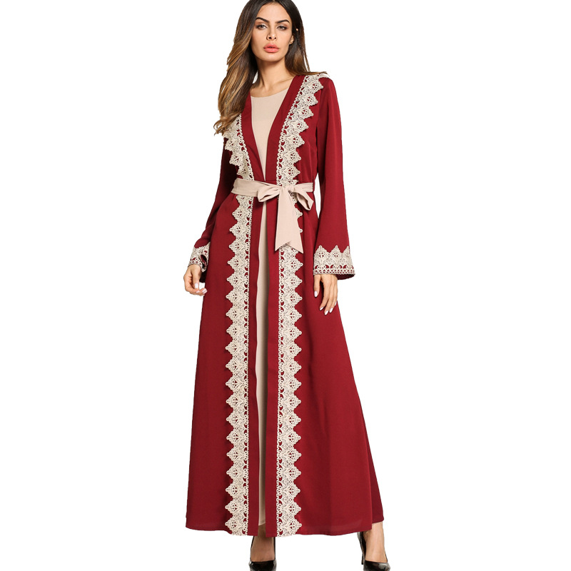 #1865813# Hot Sell Euramerica Stizes Big Fork Large Size Women's Dress Two Sets Of Arab Gowns Fashion Dubai Clothing Robes