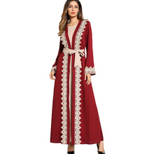 #1865813# Hot Sell Euramerica Stizes Big Fork Large Size Womens Dress Two Sets of Arab Gowns Fashion Dubai Clothing Robes