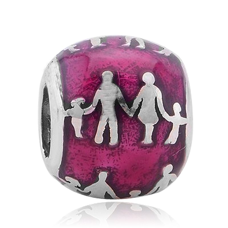 Free Shipping Pink Enamel MOM DAD and Chidren Family Silver Alloy Bead Fit Pandora Bracelets & Necklace
