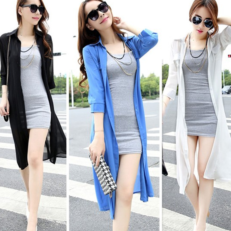 Online Shop 2015 summer ultra long chiffon dress women cardigan ...
