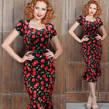 Free Shipping 2016 Square Collar Short Sleeves Mid-Calf Mermaid Women Dress Red Cherry Print Bodycon Dressses With Sash 41932