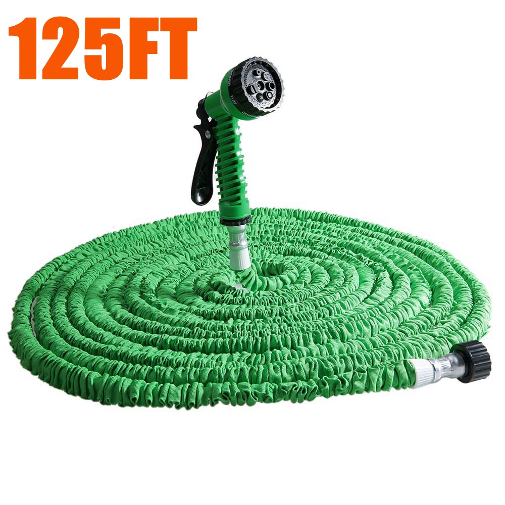 125FT Expandalble Garden Hose Water Pipe with 7 Modes Spray Gun 125ft 7 modes expandable garden water hose pipe with spray gun