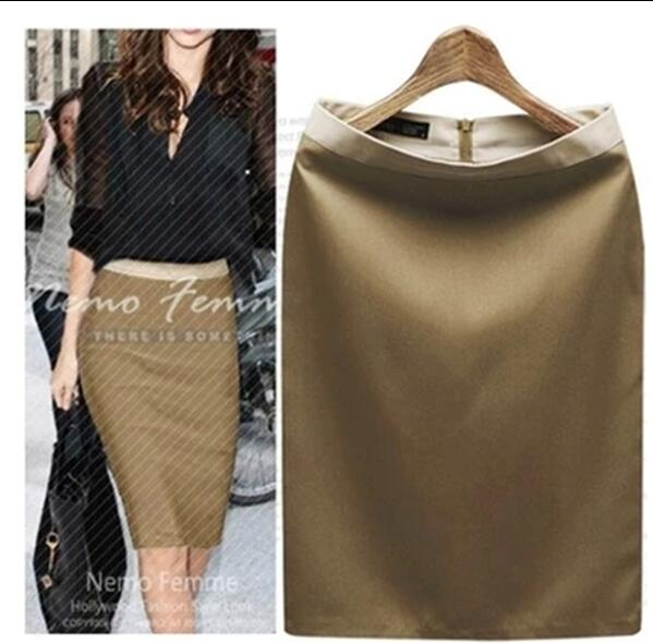 Summer brown blue Women Suede Midi Pencil Skirts Causal High Waist Stretch Sexy Slim Ladies Office One step skirt Pack hip image
