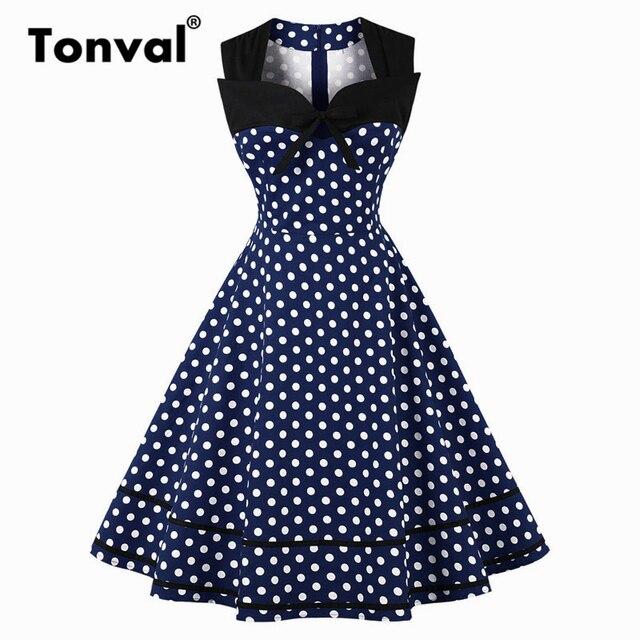 7f05074c5280 Tonval Vintage Polka Dot 1950S Summer Dress Women 2018 Elegant Tie V Neck  Party Dress Sleeveless Plus Size Blue Dresses