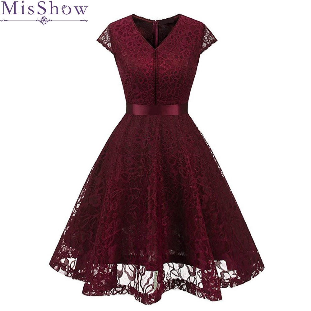 2019 Short   Cocktail     Dresses   Floral Lace Retro Robe Vintage 50s Rockabilly Plus Size Evening Party   Dress   Prom Homecoming   dress