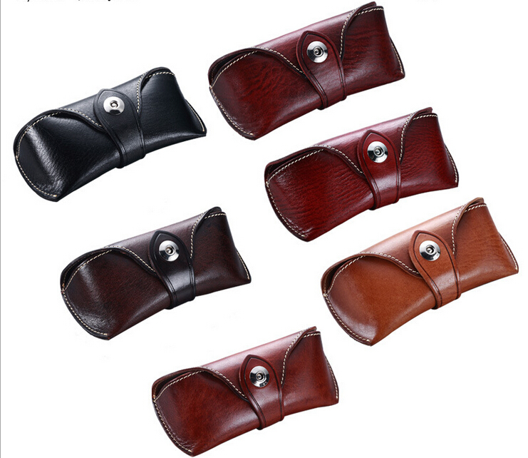 Genuine Cowhide Leather Sunglasses Case Eyeglass Designer Case eyewear clam shell box spectacle box slip in soft pouch