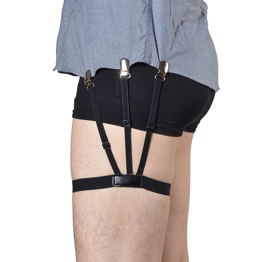 1 Pair Men/'s Shirt Stays Holders Elastic Leg Garter with Non-slip Locking Clamps
