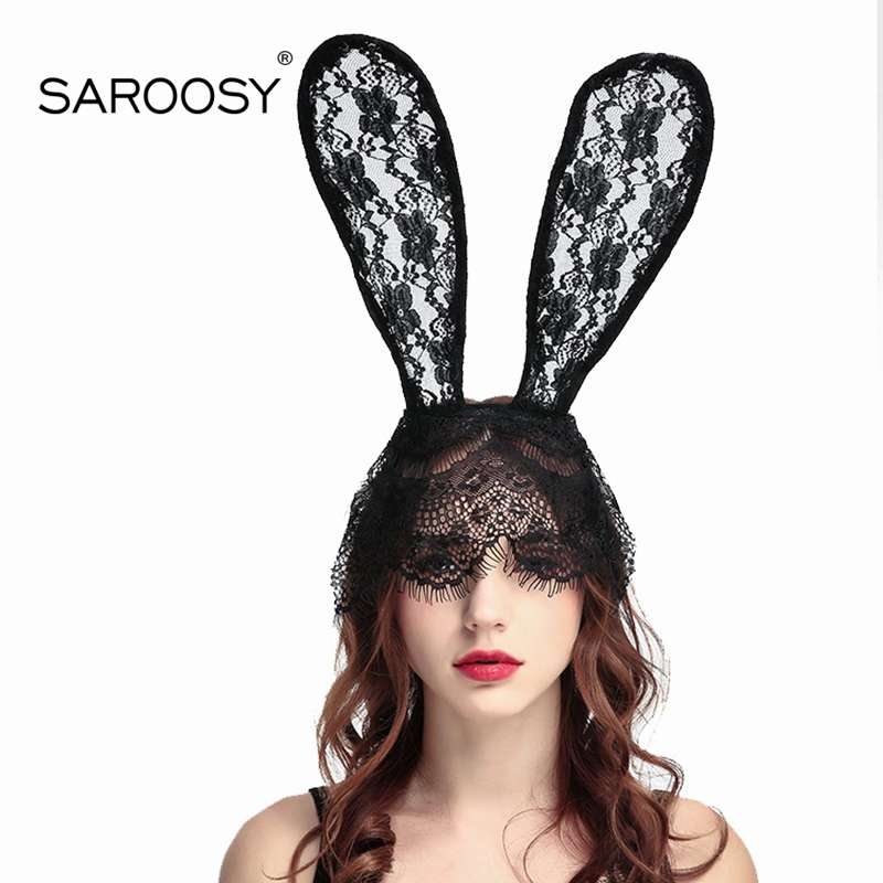 SAROOSY Sexy Lace Bunny Ears Headwear Fashion Veil Eye Mask Halloween  Accessories Costume Rabbit Ear Kawaii Hairband