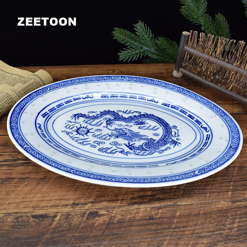 Jingdezhen-assiette à poisson en porcelaine | Céramique bleue et blanche, assiettes ovales en porcelaine, plat à Steak, vaisselle pour la maison, vaisselle décor artisanat de table 11.8 pouces