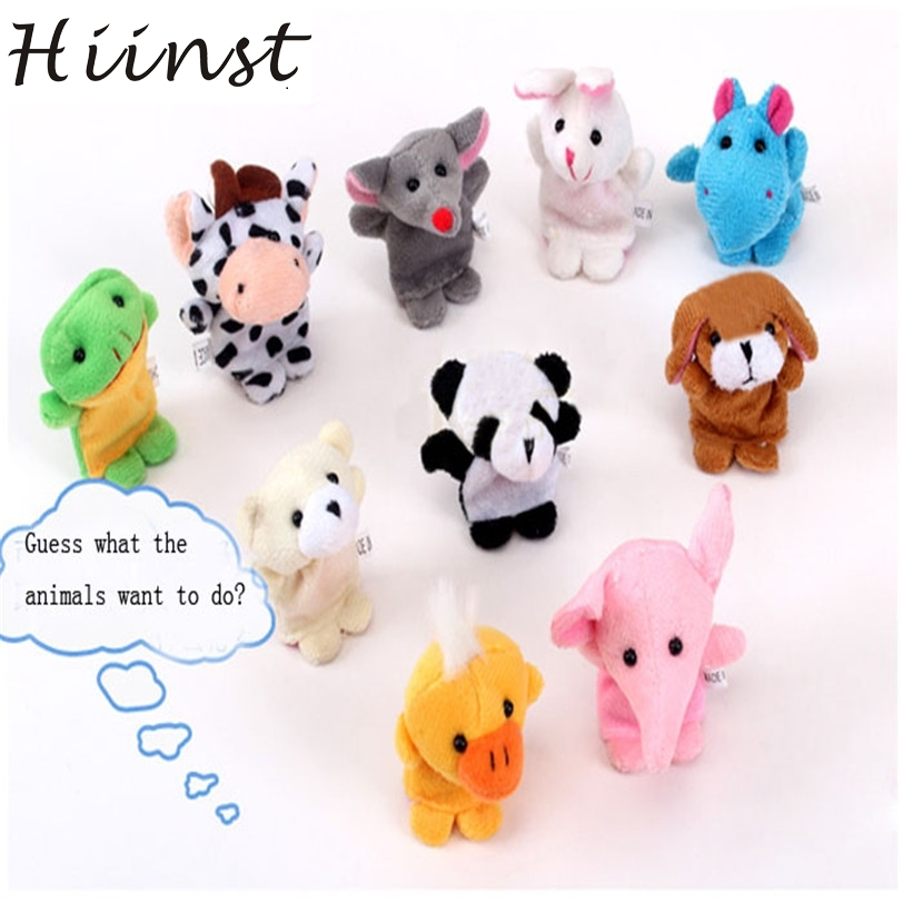 Hiinst finger doll 2017 10pcs Animal Finger Plush Child Baby Early Education Toys Gift*R Drop hot sale
