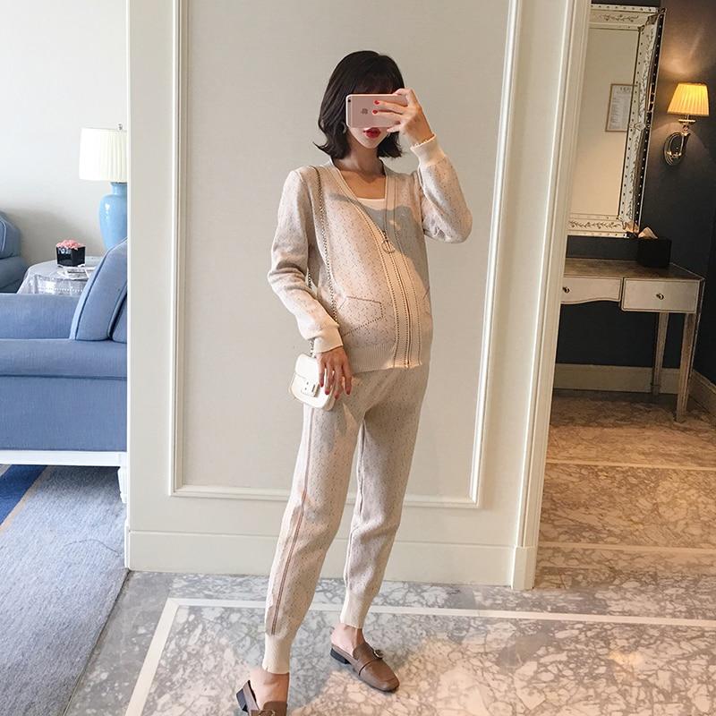 Pregnant women sportswear set 2018 new autumn tide mom fashion knit sweater top casual two-piece rib knit halter top