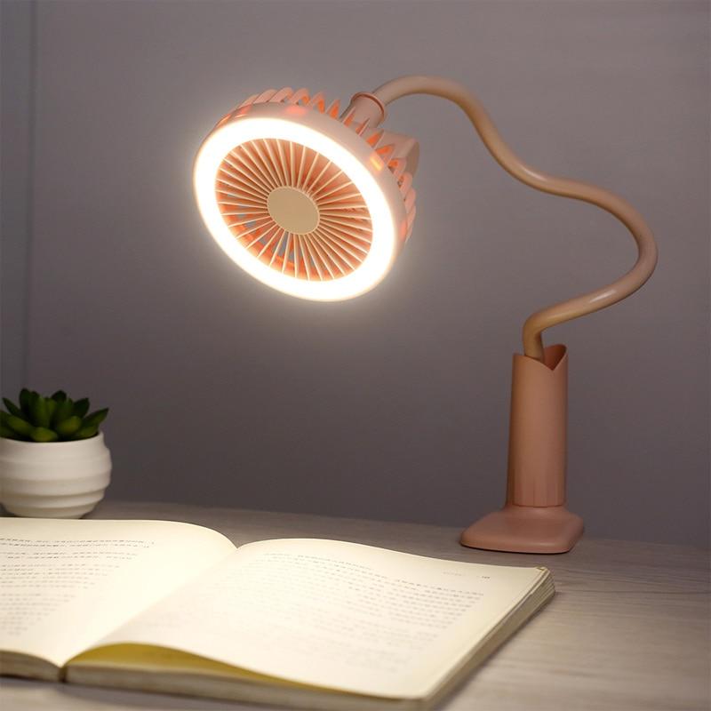 USB LED Desk Reading Night Light Lamp With Fan Rechargeable Flexible Adjustable Handy Desk Cooling Fan Bulb