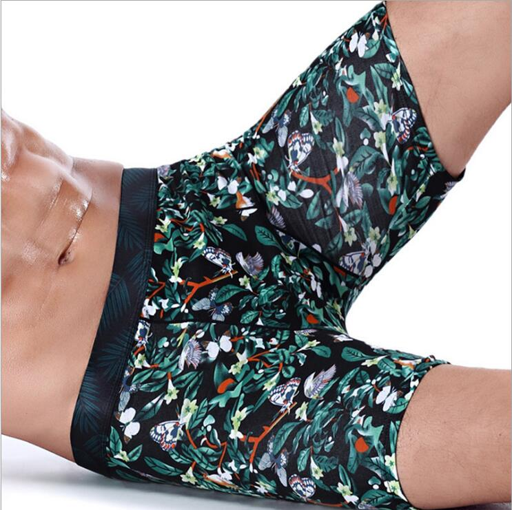 Free Shipping  Men sport extended printed cotton boxer running wear  resistant leg five minute#7377 Sive L-4XL