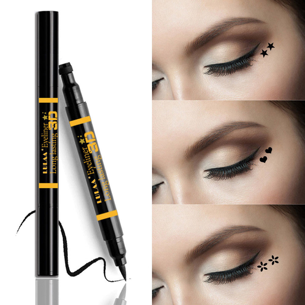Good 1pc Dual-ended Waterproof Black Liquid Eyeliner Pencil With Tattoo Stamping Seal Eye Liner Pen Makeup Cosmetic Tools Heart/star Latest Technology Beauty & Health