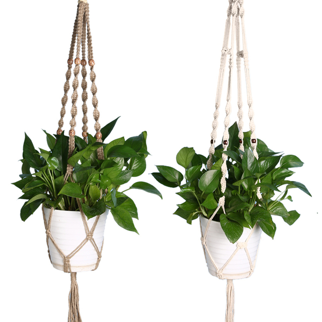 1.5M/1M Vintage Knotted Plant Hanger Basket Handmade Braided Jute Rope Flowerpot Holder Macrame Lifting Rope